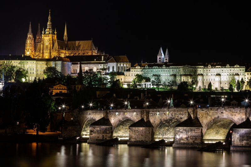 Prague Castle Hill at Night