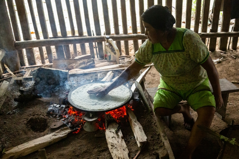 Lady Making Homemade Yucca Bread