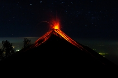 Exploding Volcano with Star Trails