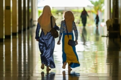 Muslim Girls Walking in a Mosque