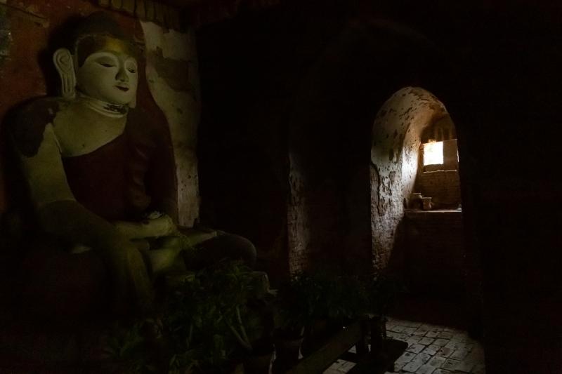 Buddha in Low-Light Pagoda