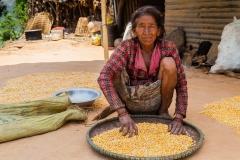 Nepalese Woman Sifting Corn