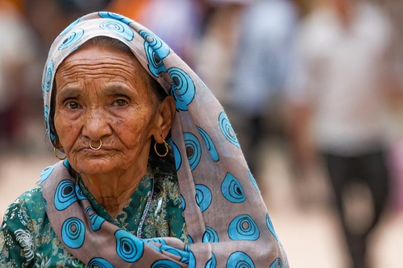 Elderly Woman at the Swayambhunath Temple