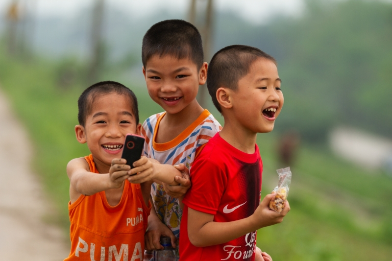 Vietnamese Children Smiling and Laughing