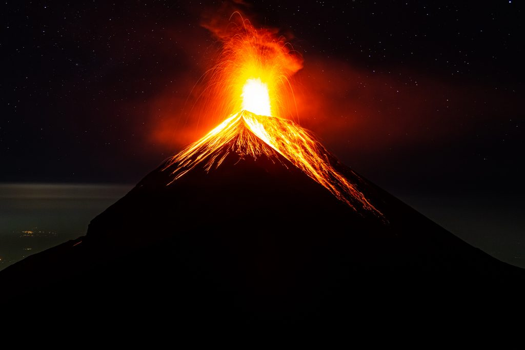 Fuego Volcano Erupting