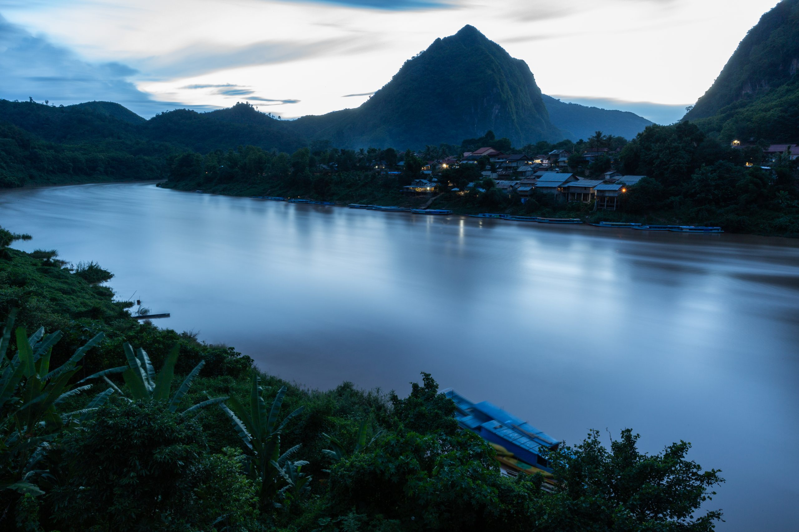 sunset on the Nam Ou River in Nong Khiaw, Laos