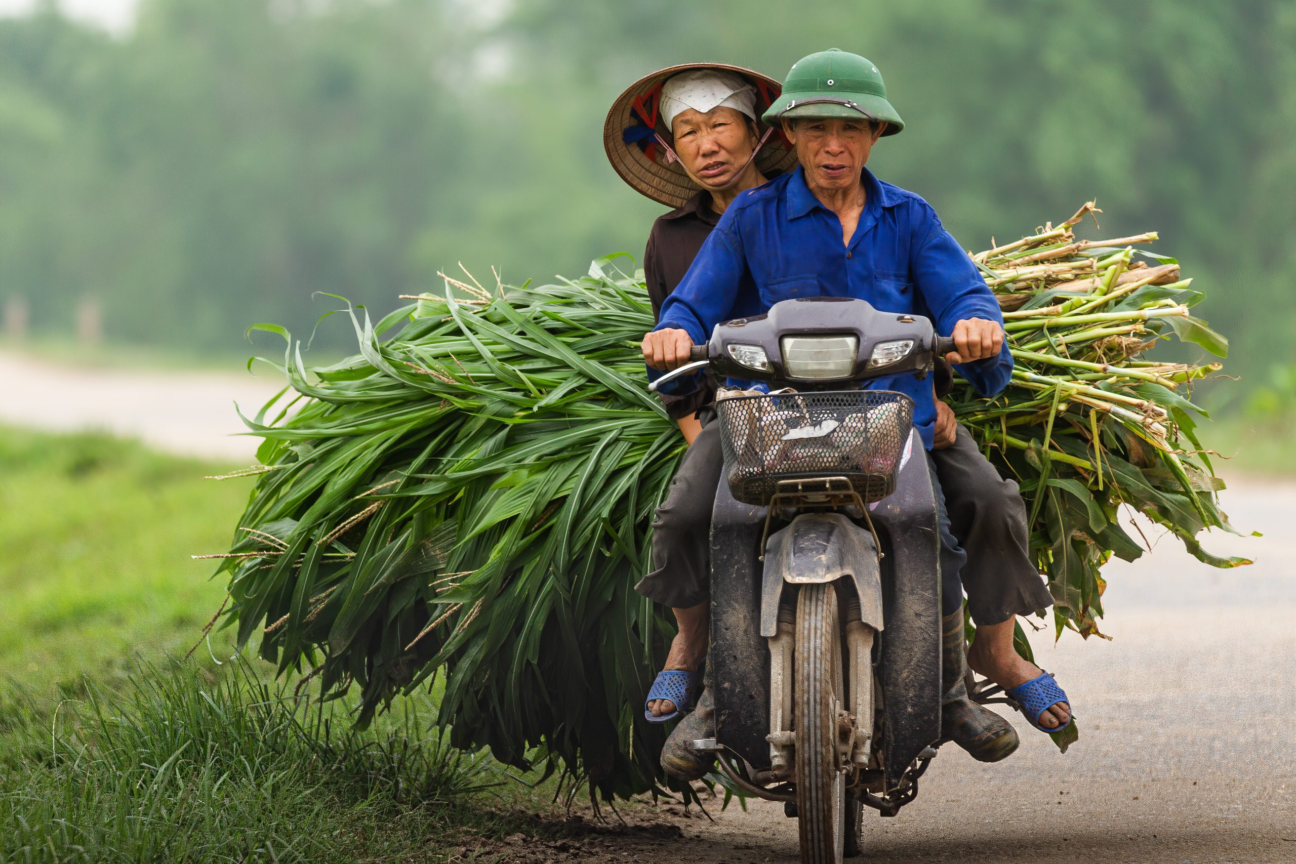 Elderly Vietnamese Couple on Motorbike