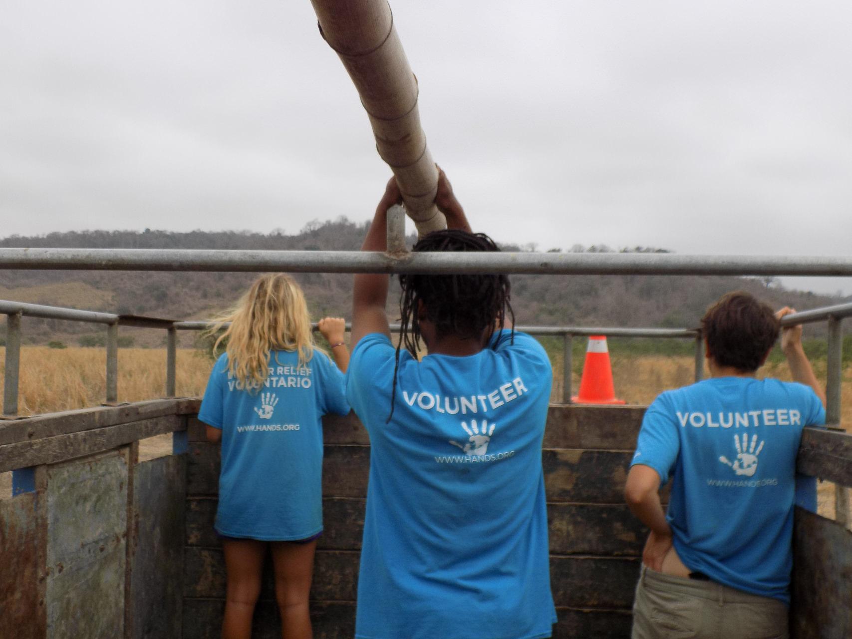 volunteers in a truck