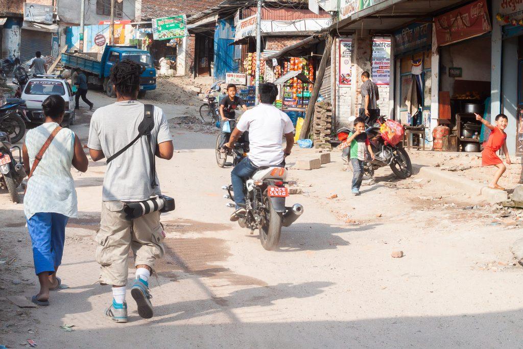 friends walking the streets of kathmandu