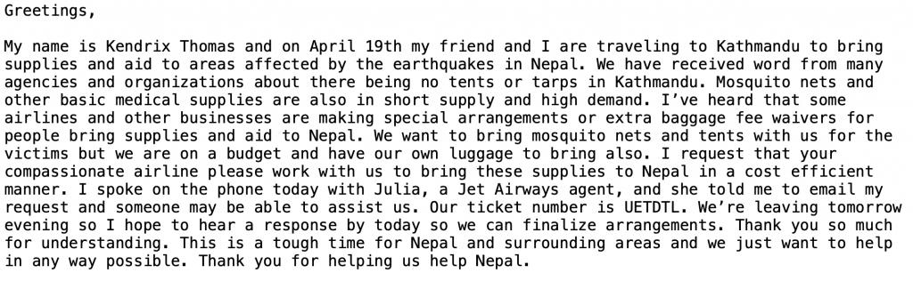 email to Jet Airways