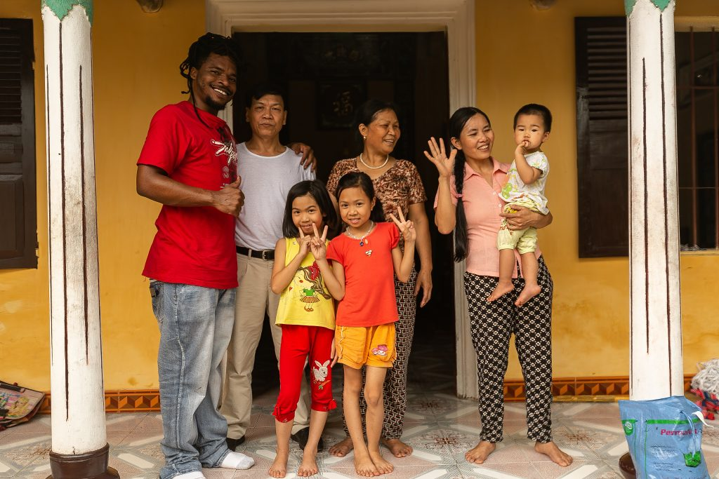 Black man with vietnamese family