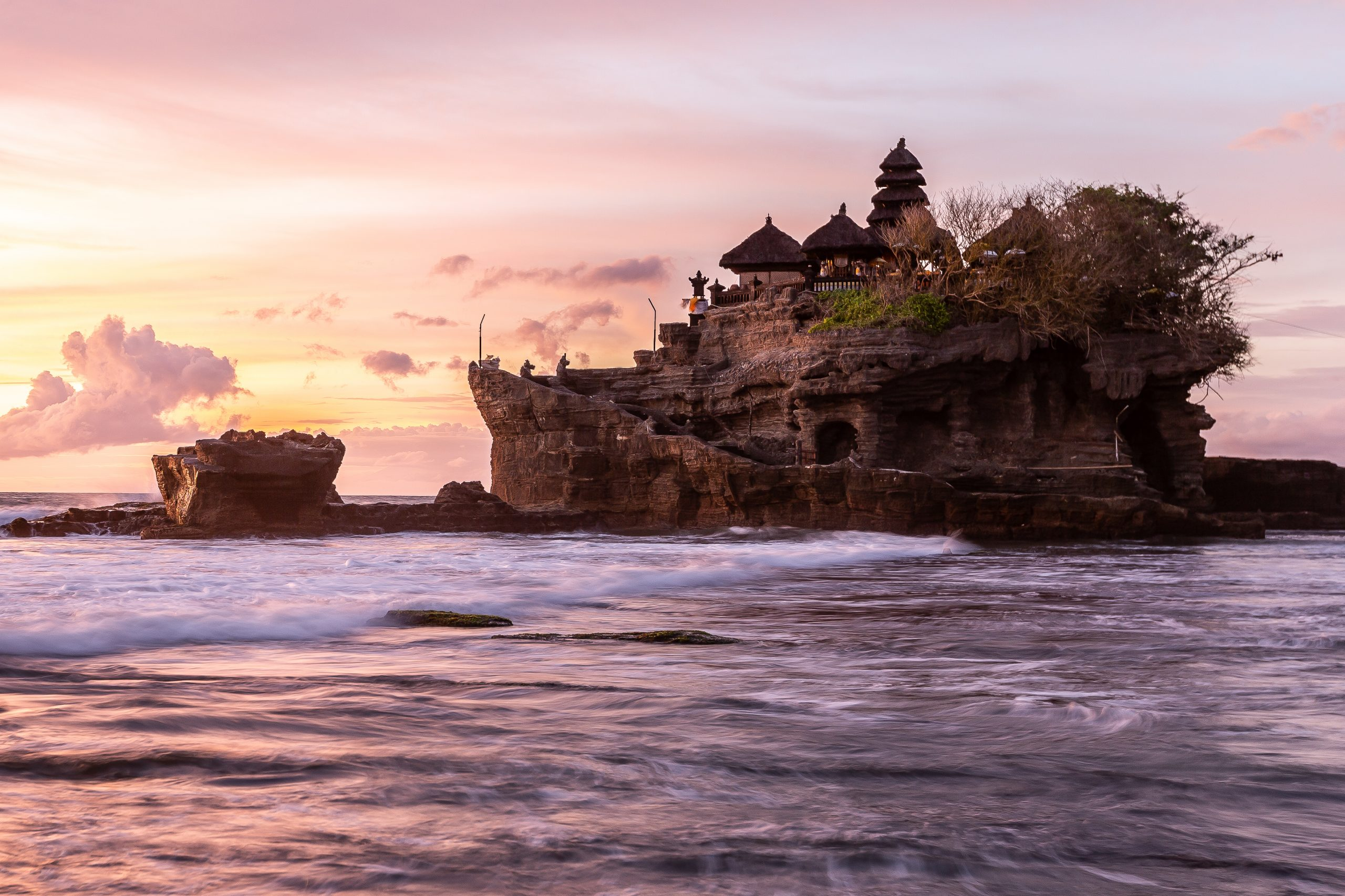Tanah lot at sunset in Indonesia