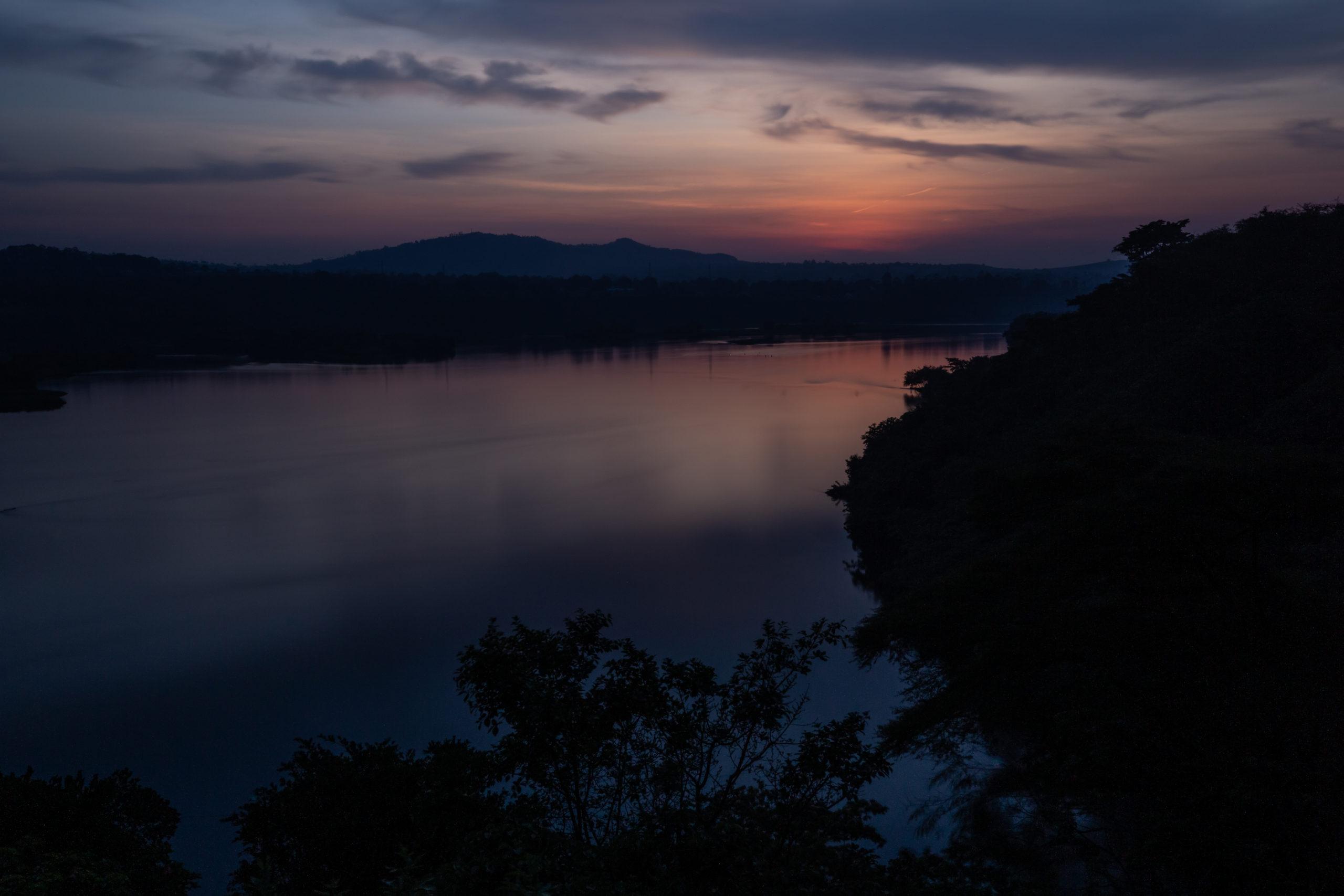 Nile River at sunset in Jinja, Uganda
