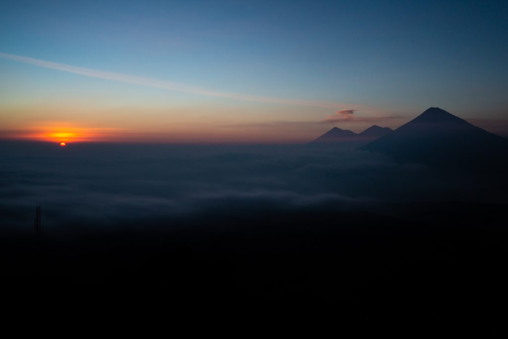 Sun Setting Over Pacaya Volcano